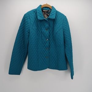 Briggs Blue Button Front Puffer Quilted Jacket